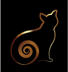 gold cat silhouette on black background icon vector image