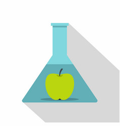 green apple in glass test flask icon flat style vector image