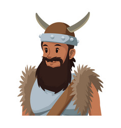 Halloween costume viking man beard helmet horns vector