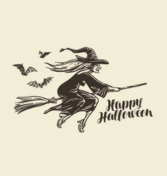 halloween greeting card old witch flies on vector image