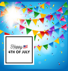 happy 4th july poster design with colorful flags vector image