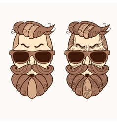 hipster character with beard hair and glasses vector image