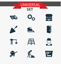 Industry icons set collection of spatula stair vector