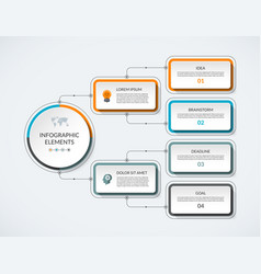 infographic flow chart with 4 options vector image