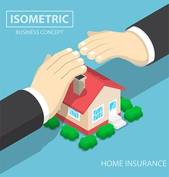 isometric businessman hands protecting house vector image