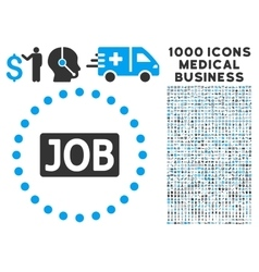Job Text Icon with 1000 Medical Business Symbols vector image