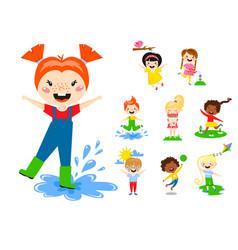Kids play enjoy spring arrival warm summer little vector
