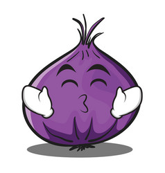 kissing smile eyes red onion character cartoon vector image