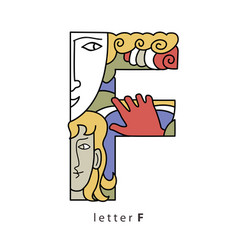 Letter f with mask vector