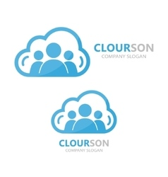 logo combination of a cloud and people vector image