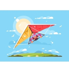 Man on a hang glider vector image