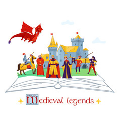 medieval legends concept composition vector image