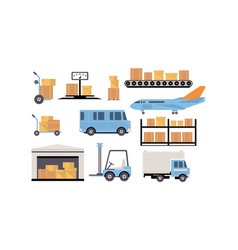 merchandise warehouse and logistic storage vector image