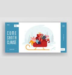 merry christmas greetings time website landing vector image