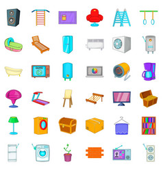 microwave icons set cartoon style vector image