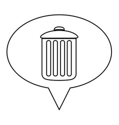 monochrome contour of oval speech with trash vector image