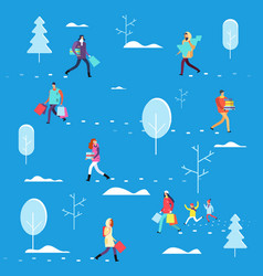 people on winter holiday person carrying shopping vector image