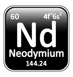 Periodic table element neodymium icon vector