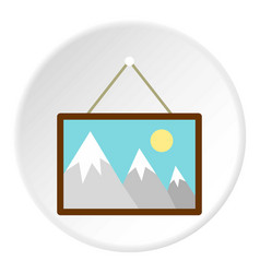 Picture hanging an wall icon circle vector