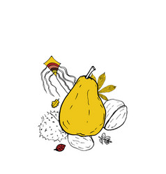 Placement print autumn leaves and pear doodle vector