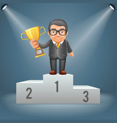 podium businessman hold prize win award in hand vector image