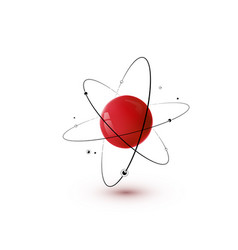 Red atom with core orbits and electrons isolated vector