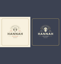 Restaurant logo template woman vector