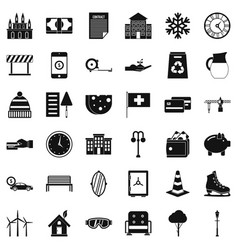 Rich villa icons set simple style vector