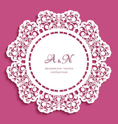 Round lace doily with cutout border pattern vector