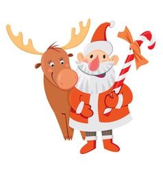 Santa Claus and Rudolph vector image