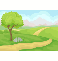 scenery with tree ground road and green meadows vector image