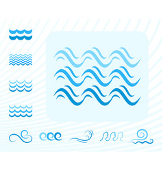 sea wave blue icons or water liquid symbols vector image