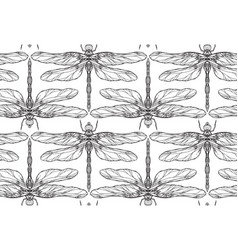 seamless black and white texture with dragonfly vector image