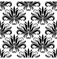 Seamless damask pattern with stylized yucca vector