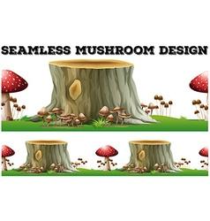 Seamless mushroom design by the log vector image