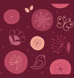 seamless pattern cute flower bird and butterfly vector image