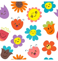 Seamless pattern with funny flowers Cute floral vector