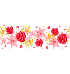 seamless pattern with romantic flowers valentine vector image