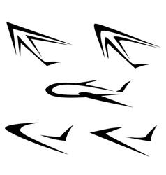 Set flying plane symbols isolated icons vector