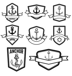set nautical emblems with anchors design vector image