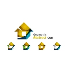 Set of abstract geometric company logo home house vector image
