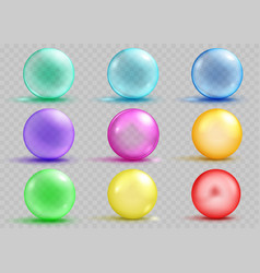 Set of transparent and opaque colored spheres vector