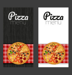 Set pizza on a red checkered tablecloth on wood vector