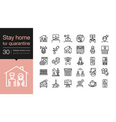 stay home icons at home for quarantine vector image