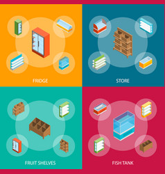 supermarket elements 3d banner set isometric view vector image