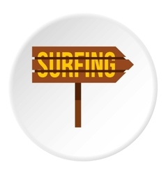 Surfing direction sign icon flat style vector image