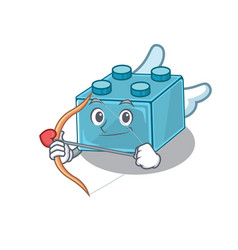 Sweet lego brick toys cupid cartoon design vector
