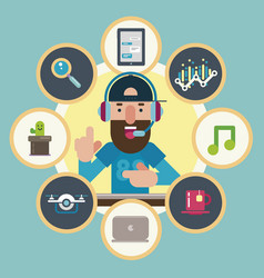 Technological guru surrounded by icons vector