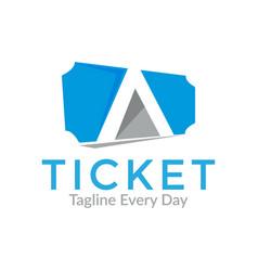 Ticket logo design template vector