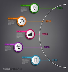 Time line info graphic colored abstract round vector